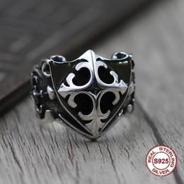 Отправить кольцо онлайн-100% S925 Мужские Кольца из Стерлингового Серебра Личность в стиле ретро, классический стиль панк Слово, рука, щит Открытое кольцо Отправить подарок влюбленным 2019 новый горячий