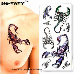 cuerpo rey Rebajas Nu-TATY Rey Escorpión 3d Tatuaje Temporal Body Art Flash Tattoo Sticker 19 * 9 cm Impermeable Fake Tatoo Decoración Del Hogar Etiqueta de la pared C18122801