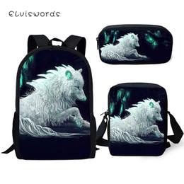 Pluma de fantasía online-ELVISWORDS Fashion Kids Backpack 3PC Set Fantasy Moon Wolf School Book Bag Kawaii Animal Students Mochila / Messenger Bag / Pen Bag