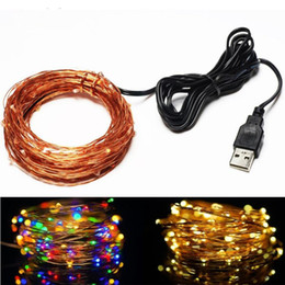 2019 frio instantâneo Luzes de fadas 10 M 33ft 100 led Luzes Cordas USB alimentado Decorativo Luzes de Fio De Cobre IP65 branco Quente / branco frio para o Interior, quarto desconto frio instantâneo