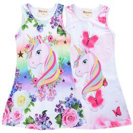 Ropa para niños saltadores online-Nuevo diseño unicornio estampado floral vestidos para niñas 4-9t niños ropa de verano niñas vestido sin mangas jumpers niños ropa de diseñador niñas SS223