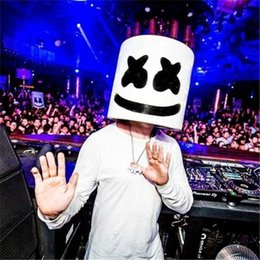 music mask Promo Codes - Halloween Marshmallow Dj Headgear Marshmello Headgear Mask Latex Material Full Head Helmet Mask Bar Music Party Props Mask New