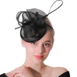2291be8664f Black sinamay quill fascinator wedding women hat headbands party derby tea  headwear elegant race show hair accessories XMF62