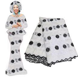 tecido de laço de tule francês branco Desconto Branco e amarelo tecido de renda francesa africano novo design flor laço tecido bordado tule pano de renda de alta qualidade