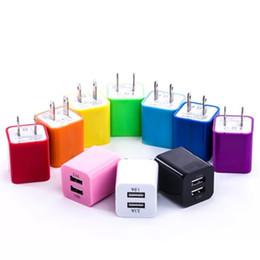 plug chargeur mural cube Promotion 10 Couleurs 5 V 2.1A US USB AC Chargeur Mural Accueil Chargeur de Voyage Adaptateur Mini USB Chargeur Pour Samsung Iphone
