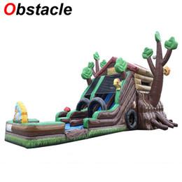 Canada 14mL * 6.5mW * 8mH thème de la forêt de conception créative géante toboggan gonflable fête d'anniversaire jouets à deux voies toboggan gonflable pour l'activité de location Offre
