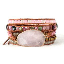 rosa turmalin perlen Rabatt Native Inspired Beads Lederarmband Turmalin Pink Quartz 5 Stränge Woven Wrap Armbänder Bohemian Bracelet Dropship