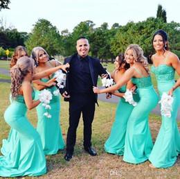 свадебные платья Скидка Мятно-зеленые ремни Спагетти Платья для подружек невесты Кружевной топ Атласная Длинные платья фрейлины Свадебные платья для гостей на вечеринке