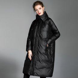 fd589c0fb6794 Loose Fashion Bat Type 90% White Duck Down Fashion Winter Jacket Coat Women  Plus Size High collar Long Feather Overcoat Female