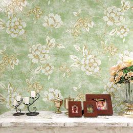 2019 tallas de la pared china El papel para pared americano del estilo del papel pintado de cosecha de flores 3d rústica para las paredes pintado no tejido para la sala Papel floral verde