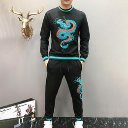 Ternos pretos homens china on-line-Bordados Japão homens dragão agasalho hoodie de manga longa e calças china dragão sportswear azul terno preto 2 peça