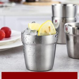 caneca da lente branca Desconto Alta Qualidade 175 ML de Aço Inoxidável Camada Dupla Copo De Cerveja De Água Potável De Café Beber Bar Home Caneca Copos