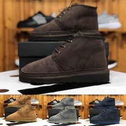 Botas de neve dos homens por atacado Da Marca Original australiano Sapatos de lã de pele de Carneiro Moda lã botas para homens mens sapatos Neumel com caixa supplier sheepskin boots wool de Fornecedores de botas de pele de carneiro lã