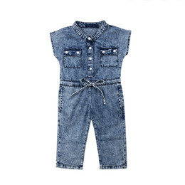 pocket jumpsuits rompers Coupons - Girls Jumpsuits Denim Rompers Baby Girls Jeans Wear Sleeveless Pockets Single Breasted Bow Cool Girls Outfits 1-6T