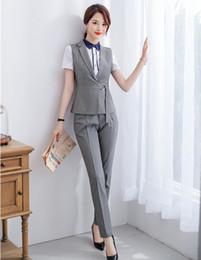 vestuário de vestimenta Desconto Formal Das Senhoras Cinza Colete Colete Mulheres Pant Ternos Conjuntos de Desgaste do Trabalho Roupas de Negócios Uniforme Escritório Estilos