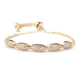 Rose gold freundschaft armbänder online-Trendy Oval Zirkonia Kristall Freundschaft Einstellbare Armband für Frauen Silber / Rose Gold Farbe Hochzeit Schmuck