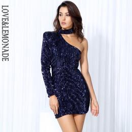 Lovelemonade Robe de soirée à sequins élastiques à épaules dénudées bleu foncé Marine / rose / noir / argent Lm0190 Q190513 ? partir de fabricateur