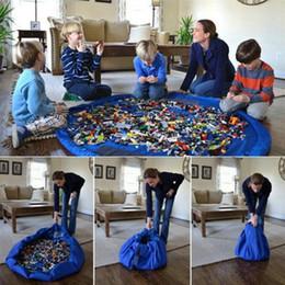 Alfombras niños online-Bolsa de almacenamiento de juguetes Cordón Juguetes para niños Organizador Bin Box Juego de alfombra redonda Alfombra Práctica bolsas de almacenamiento 8 colores YW1909