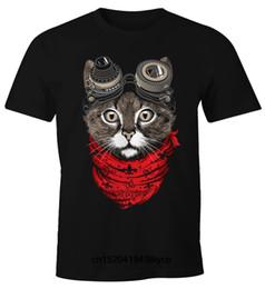 2019 camisa do gato punk T-Shirt para homem Katze Cat Steam-Punk Moonworks camisa do gato punk barato
