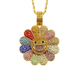 sunflower diamond Promo Codes - Novetly new arrival Rotating sunflower necklace diamond multiple colors pendant necklace men and women jewelry accessory