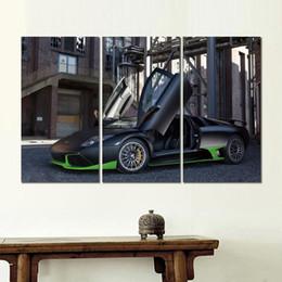 Cifras lps online-lamborghini lp negro verde auto lienzo 3 set figura imagen impresión pintura para sala de estar decoración de la pared