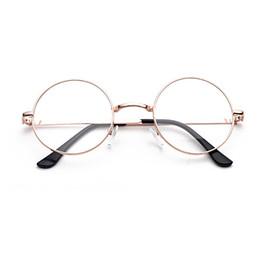 2019 lunettes anti-radiations métalliques UV400 Plaine Lunettes Harajuku Femmes Hommes Vintage Ronde En Métal Clair Lunettes Cadre Anti-rayonnement Optique Cadre lunettes anti-radiations métalliques pas cher