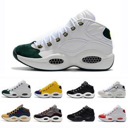 wholesale dealer cde81 47e25 Classico Allen Iverson 1 Verde oliva Nero Giallo Risposta I One Scarpe da  basket per Top Quality 1s Uomo Scarpe da ginnastica Athletic Sneakers  Taglia 40-46