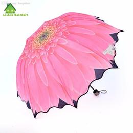 guarda-chuvas compactos grossistas Desconto Atacado-Bonito Estilo Sun Flower Umbrellas forma para Venda Manual de 3 Fold da Mulher elegante compacto e portátil Suny chuvoso Umbrella Parasol