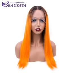 Peruca de cabelo curto laranja on-line-Ombre laranja rendas frente perucas de cabelo humano Em Linha Reta Remy Brasileira Cabelo Virgem Curto Perucas de Cabelo Humano Para As Mulheres Beau Diva