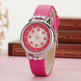 2019 rosetón de diamantes Moda de Lujo Reloj Mujeres Niños Niños Niñas Relojes de pulsera de Cuero de Diamante Roseta Romática Patrón de Corte de Estudiante Reloj Impermeable rebajas rosetón de diamantes
