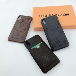 bolso traseiro para iphone Desconto Casos de telefone de designer de luxo para iphone 11 pro max 8 plus X XR XS MAX Com bolso de cartão capa traseira dura para samsung galaxy S8 note9 10 plus