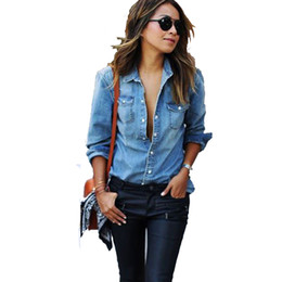 blusas jeans mujer Rebajas Nuevo 2017 otoño mujer camisa de mezclilla estilo de moda de manga larga camisas casuales mujeres 2 colores Blusas tallas grandes Blusa Jeans Feminina