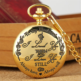 """relógio de medalhão de quartzo Desconto Gravado """"para meu marido"""" design de quartzo relógio de bolso de luxo de ouro / prata / preto pendurado pingente de relógio melhores presentes de aniversário"""