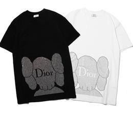 Wholesale 2019 camiseta nueva di hombres mujeres Rhinestone patrón letra logo camiseta o manga corta O cuello camiseta al por mayor S XXL