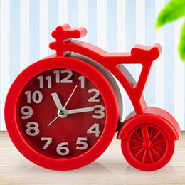 caramella di sveglia Sconti Mini muto bicicletta orologio da tavolo orologio sveglie colori caramella bambini studente orologio casa decorazione camera da letto