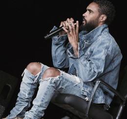 Jeans scarni grandi piedi online-All'ingrosso-2016 rock star grande distrutto strappato uomini scarni distressed biker cerniera dei jeans lato sui piedi sul nuovo pulsante pants28 deisgn