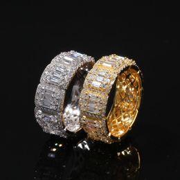 anillos de oro topacio rosa Rebajas Bling Cubic Zircon Mens Hiphop Anillos Ice Out 18K Anillo chapado en oro Nueva joyería de diamantes de moda