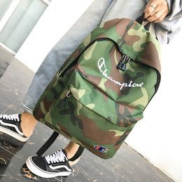 street backpack Promo Codes - Champions Letter Embroidered Backpack Pure Color Nylon Backpack Fashion Teenagers Students Schoolbag Street Style Unisex Travel packs C3144