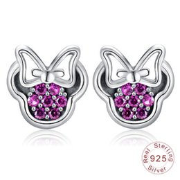 a3da19a8c red sparkle earrings Coupons - 925 Sterling Silver Bow Knot Stud Earrings  Rose Red Crystal Sparkling