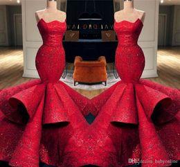 Argentina Vestidos de noche de sirena roja de Arabia Saudita árabe de lujo magnífico Faldas con volantes en niveles Vestido largo de alfombra roja Celebrity Vestidos formales Vestido de fiesta supplier celebrity dress saudi arabia Suministro