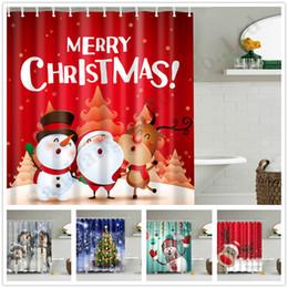 57styles Bonhomme De Neige Rideau De Douche Imperméable Polyester Tissu Père Noël Motif Salle De Bains Douche Rideaux Bain Rideau De Noël Décoration D
