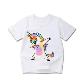 2019 ropa de bebé lindo al por mayor Venta al por mayor- Lindo animal Print Colorido Ropa de bebé para niños Ropa de manga corta Pullover Verano para el regalo del día de los niños Bebé Niños camisetas ropa de bebé lindo al por mayor baratos