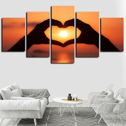 couple cartoon painting Coupons - 5 Panels Sunset Couple Love Gesture Artworks Giclee Canvas Wall Art for Home Decor Abstract Poster Canvas Print Oil Painting