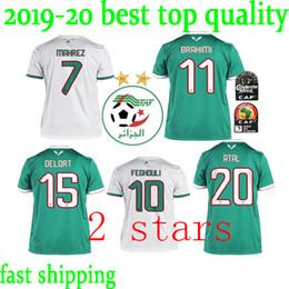 Equipos de camiseta de fútbol verde online-Nuevo 2019 Equipo nacional de fútbol de Argelia Local blanco Visitante Verde 19 20 Hombres Camisetas de fútbol Camiseta de fútbol Camiseta de manga corta Argelia Uniforme de fútbol