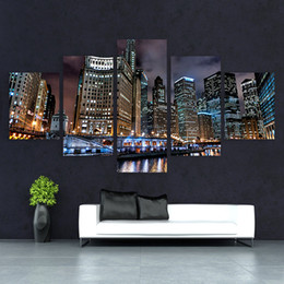 2019 фотографии green tea Embelish Холст Wall Art Pictures Современная рамка Гостиная 5 шт Процветание Chicago City Night Scenery Decor HD Печать плакатов