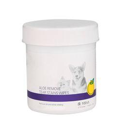 Removedor de perro online-Paños de limpieza mascotas perro mojado Suministros Toalla Aseo Tear Stain Remover Libre de Alcohol (100 Toallitas / bote)