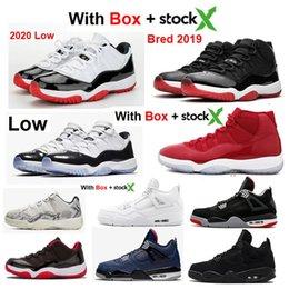 Tênis de strass on-line-2020 Nova sapatilhas Low 11 11s angorá Dinheiro 4 Black cimento sapatos Space Jam 11s basquete com caixa Stock X dos homens negros