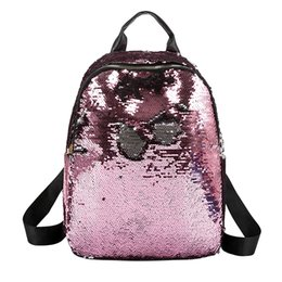 backpacks color gold for women Promo Codes - Large Sequin Backpack for Girls 2018 High Quality Female Color Sequins Bags Fashion Glitter Sequin Backpack For Children