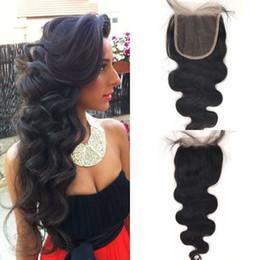 chiusure per capelli in vendita Sconti Vendita calda 5x5 chiusura del merletto dell'onda del corpo 8-24 pollici parte centrale libera dei capelli umani vergini per le donne nere G-EASY