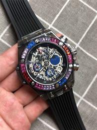 2019 relojes de lujo de color Diamante 2018 Los colores del reloj del arco iris Relojes relogio masculino para hombre Diseñador de lujo Vestido de moda Dial negro Pulsera de calendario relojes de lujo de color baratos